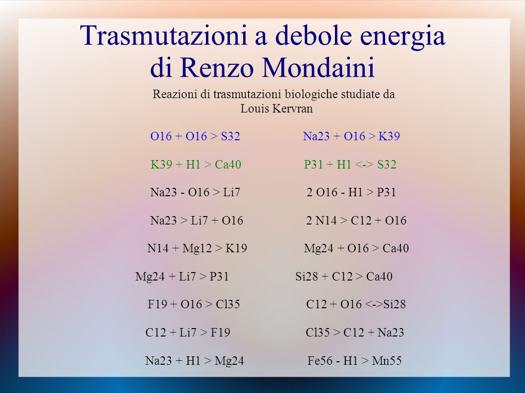 Trasmutazioni a debole energia di Renzo Mondaini