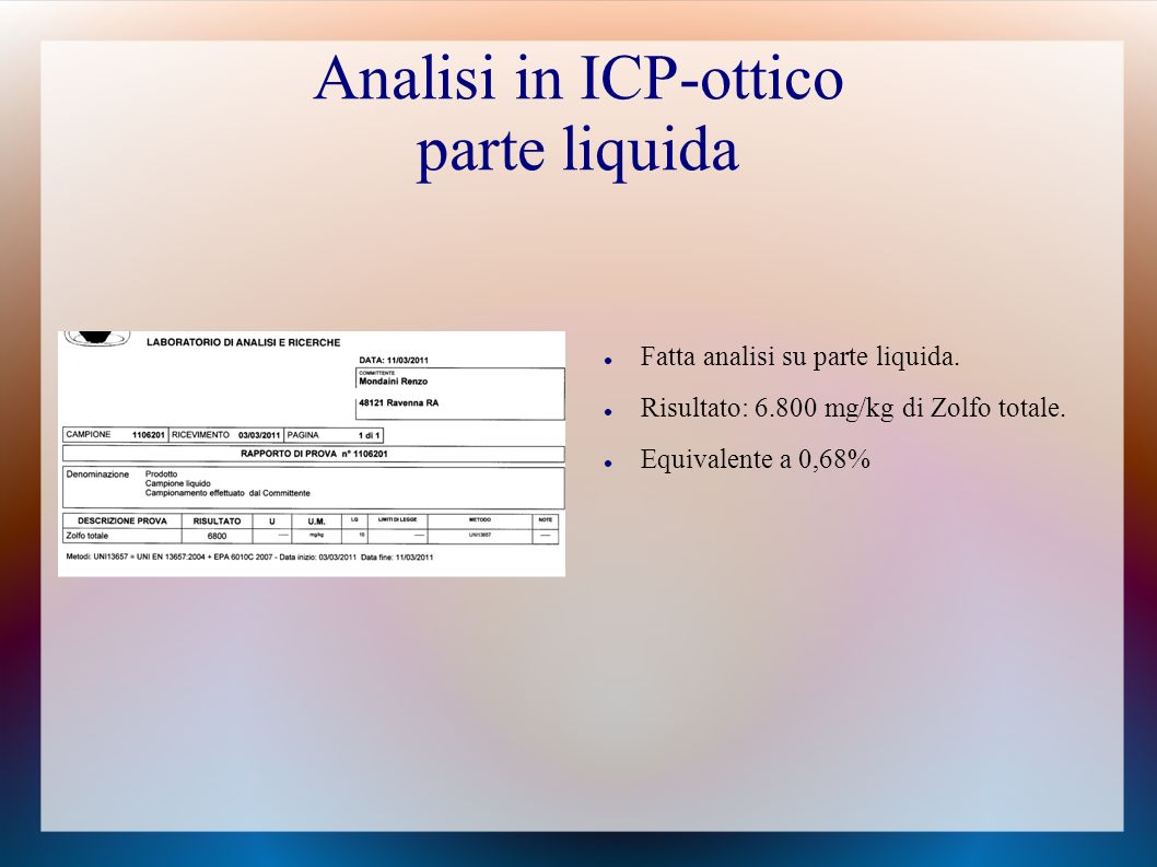 Analisi in ICP-ottico parte liquida