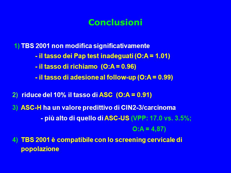 Conclusioni 1) TBS 2001 non modifica significativamente