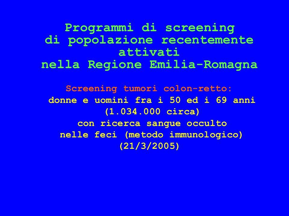 Programmi di screening di popolazione recentemente attivati