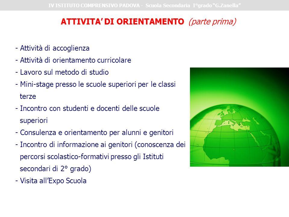 ATTIVITA' DI ORIENTAMENTO (parte prima) - Attività di accoglienza