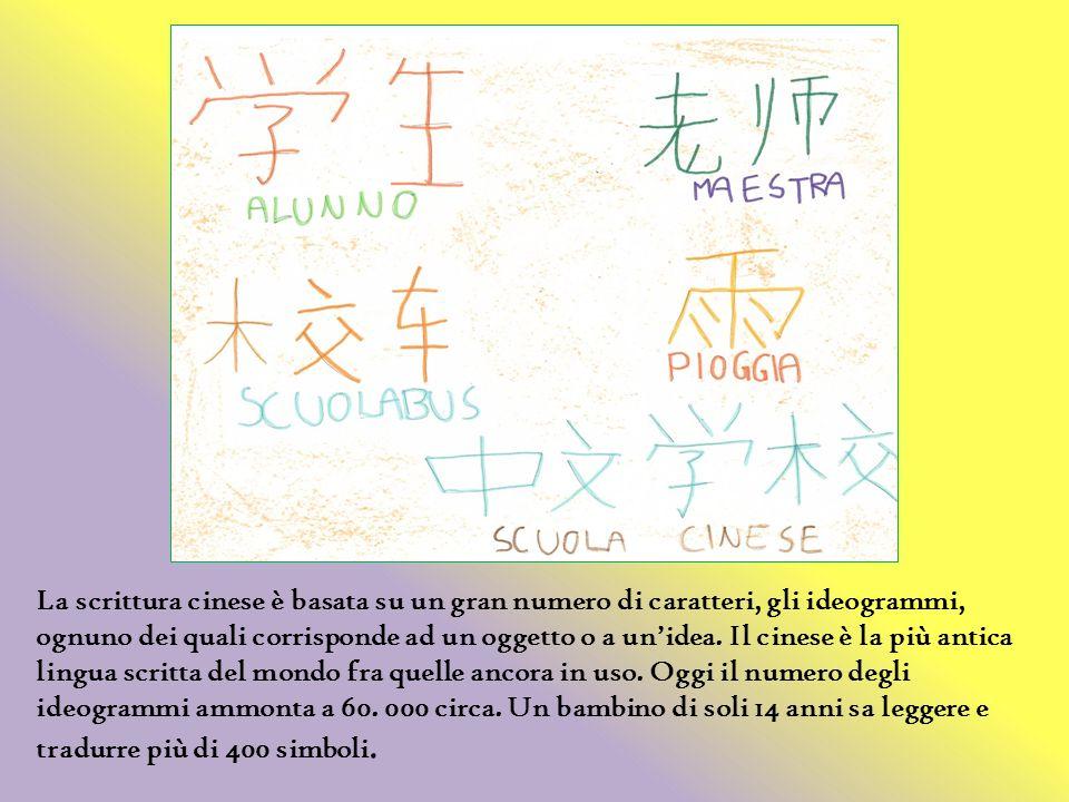 La scrittura cinese è basata su un gran numero di caratteri, gli ideogrammi, ognuno dei quali corrisponde ad un oggetto o a un'idea.