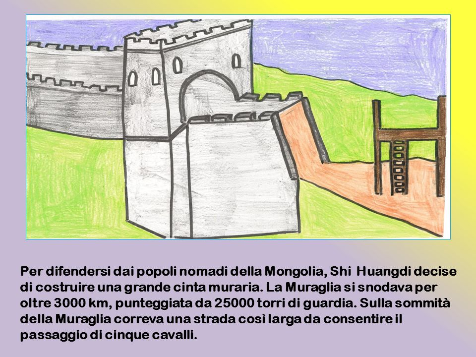 Per difendersi dai popoli nomadi della Mongolia, Shi Huangdi decise di costruire una grande cinta muraria.