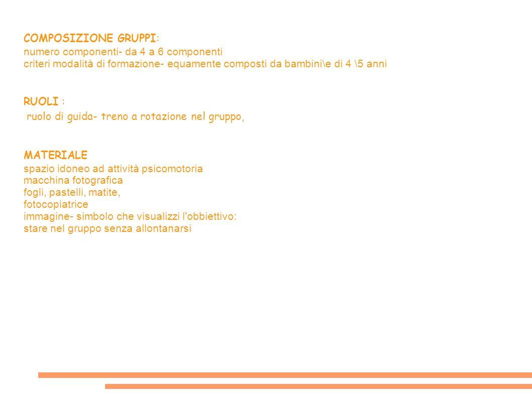 COMPOSIZIONE GRUPPI: numero componenti- da 4 a 6 componenti. criteri modalità di formazione- equamente composti da bambini\e di 4 \5 anni.