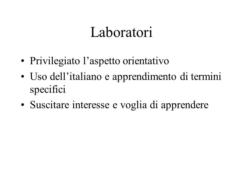 Laboratori Privilegiato l'aspetto orientativo
