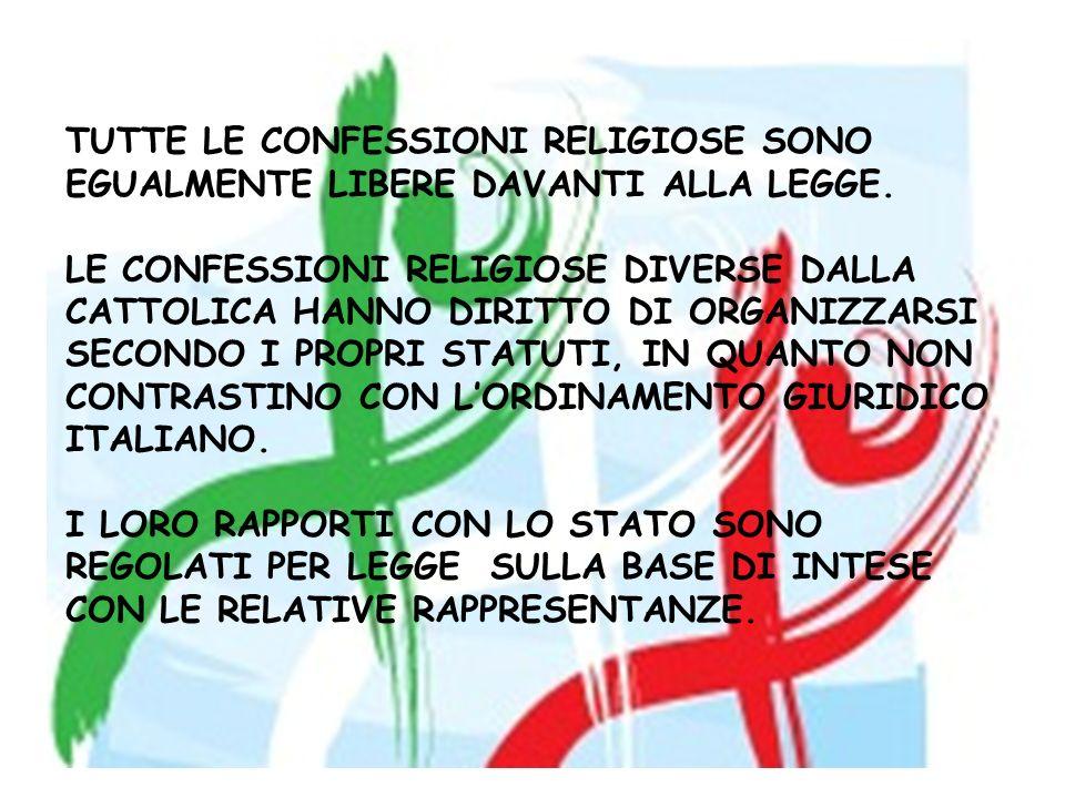 TUTTE LE CONFESSIONI RELIGIOSE SONO EGUALMENTE LIBERE DAVANTI ALLA LEGGE.