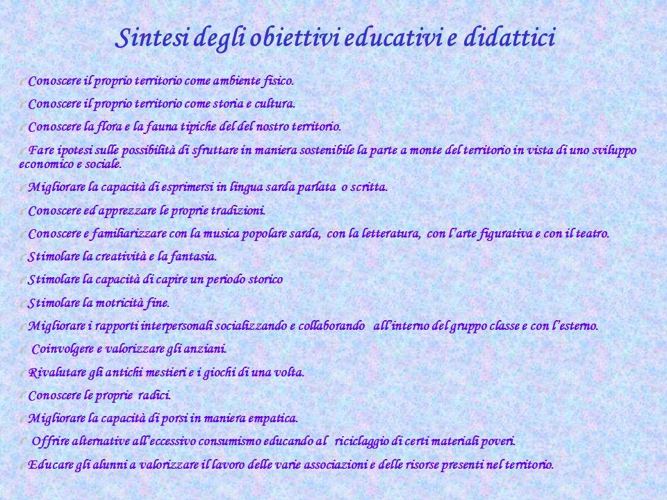 Sintesi degli obiettivi educativi e didattici
