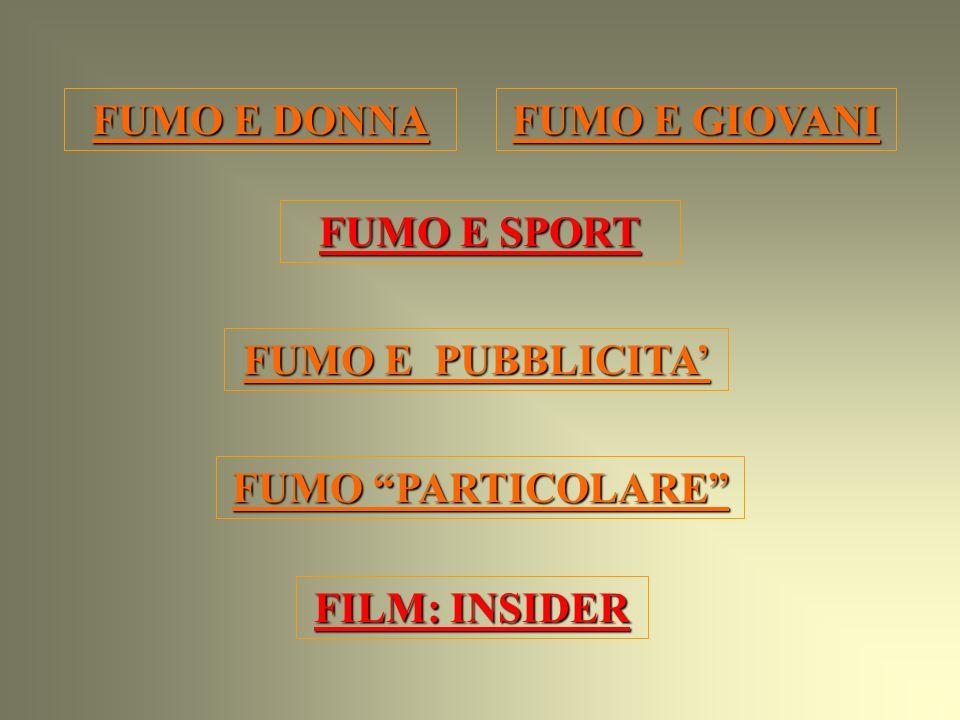 FUMO E DONNA FUMO E GIOVANI FUMO E SPORT FUMO E PUBBLICITA' FUMO PARTICOLARE FILM: INSIDER