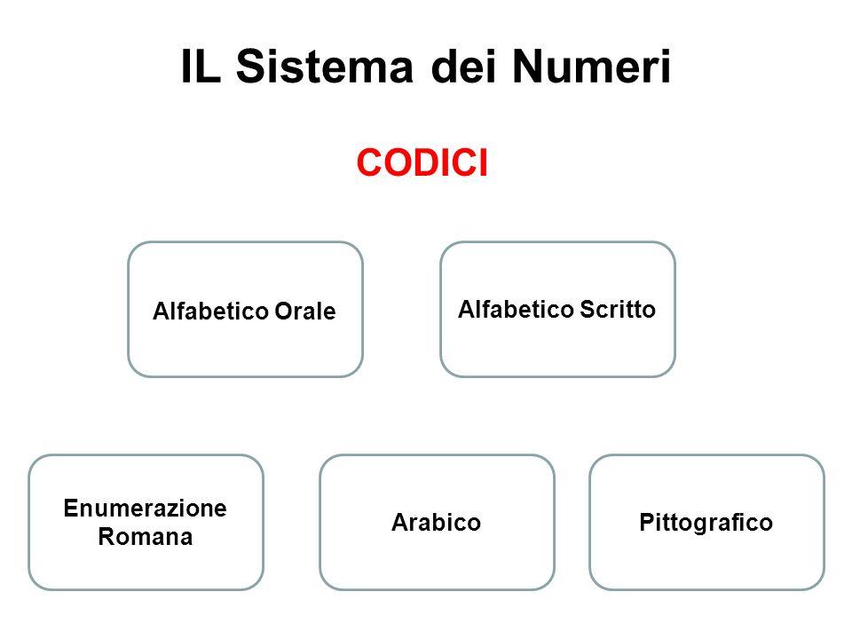 IL Sistema dei Numeri CODICI Alfabetico Orale Alfabetico Scritto