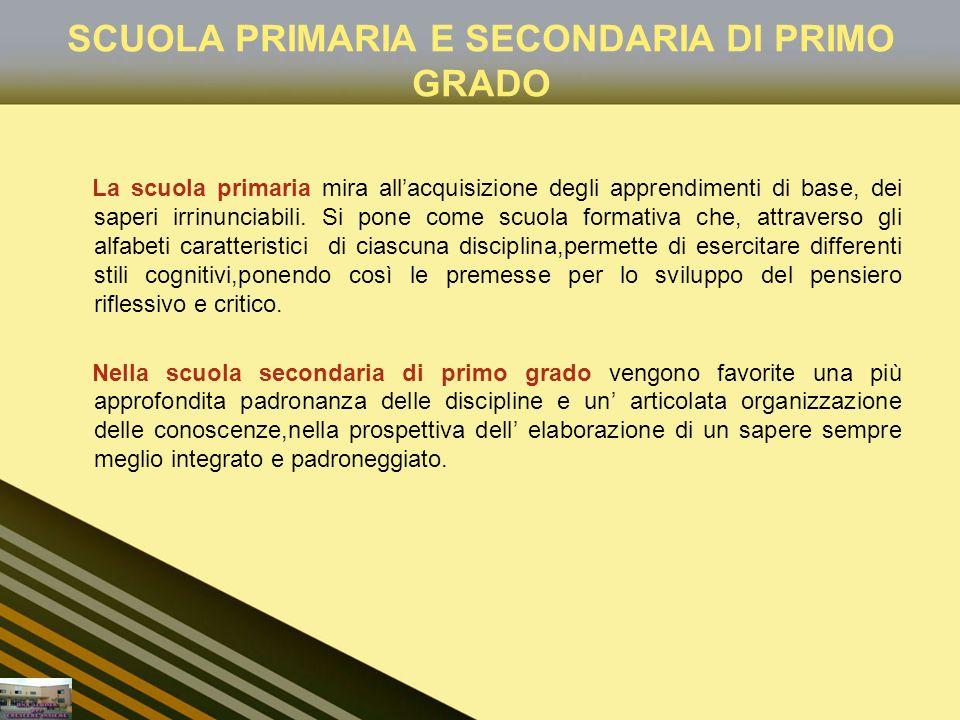 SCUOLA PRIMARIA E SECONDARIA DI PRIMO GRADO