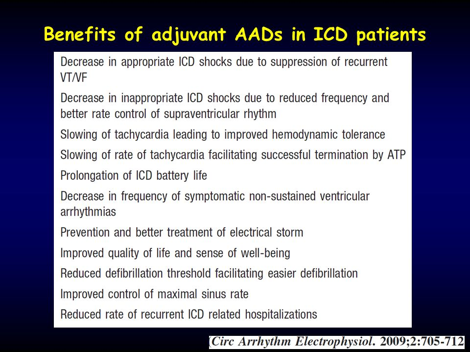 Benefits of adjuvant AADs in ICD patients