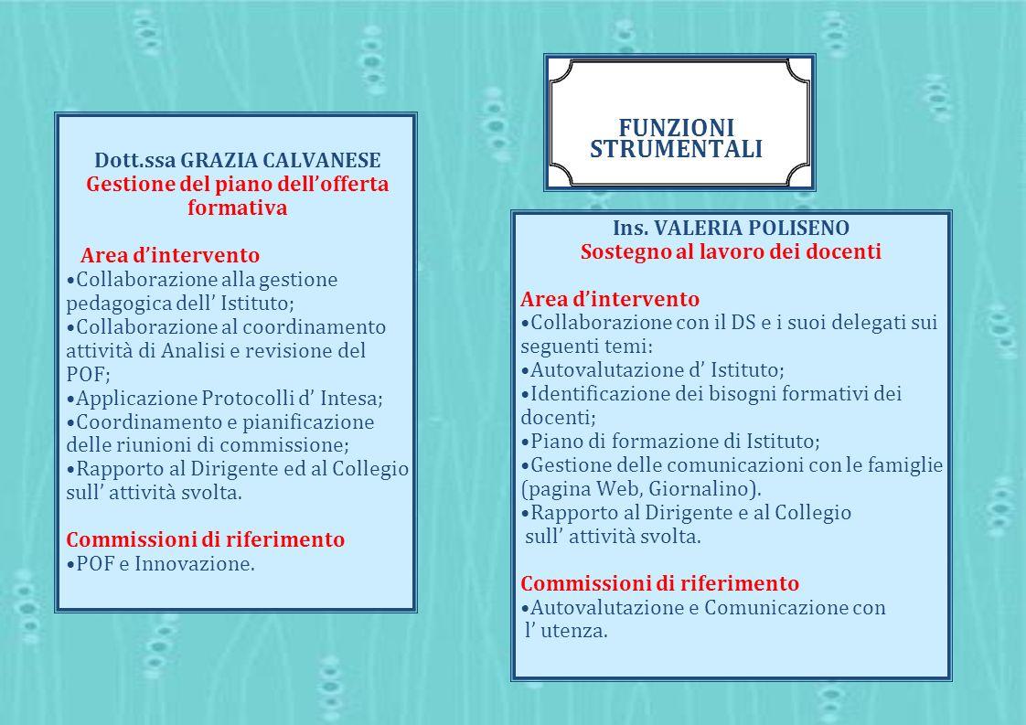 f. strumentale Dott.ssa GRAZIA CALVANESE Gestione del piano dell'offerta formativa. Area d'intervento.
