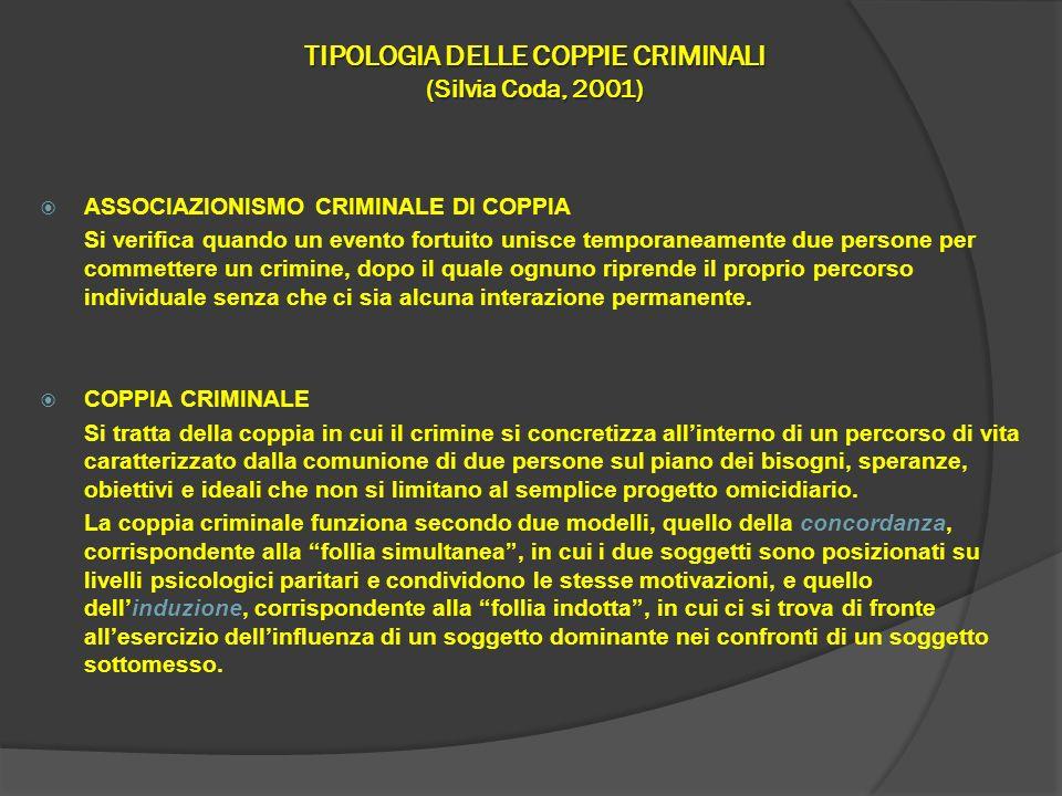 TIPOLOGIA DELLE COPPIE CRIMINALI (Silvia Coda, 2001)