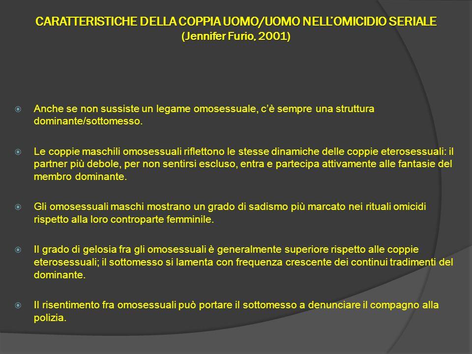 CARATTERISTICHE DELLA COPPIA UOMO/UOMO NELL'OMICIDIO SERIALE (Jennifer Furio, 2001)