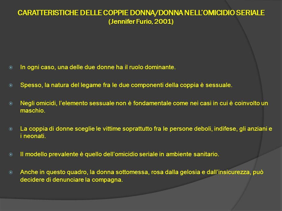 CARATTERISTICHE DELLE COPPIE DONNA/DONNA NELL'OMICIDIO SERIALE (Jennifer Furio, 2001)