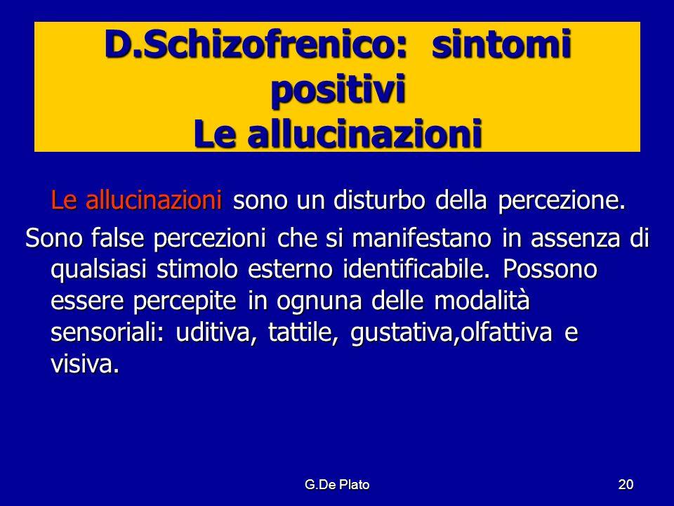 D.Schizofrenico: sintomi positivi Le allucinazioni