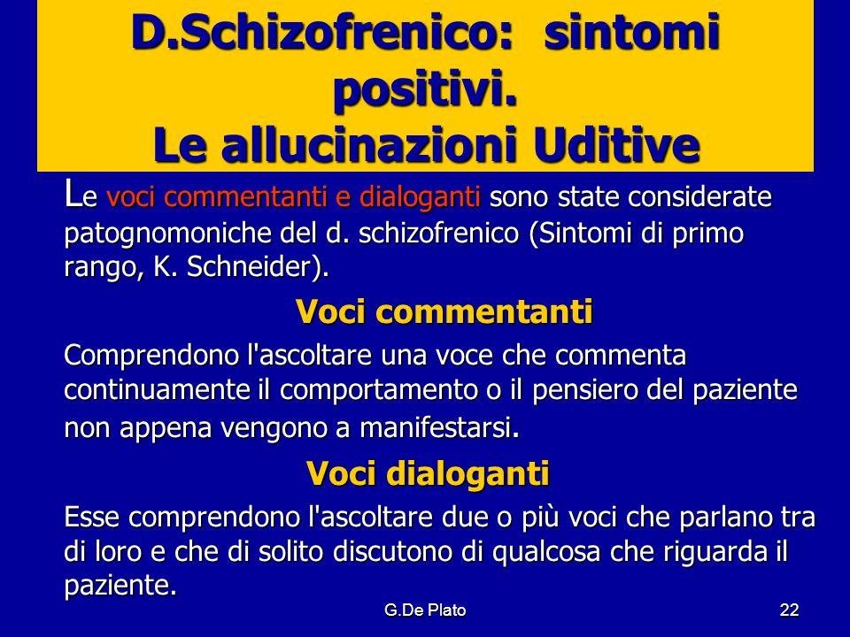 D.Schizofrenico: sintomi positivi. Le allucinazioni Uditive