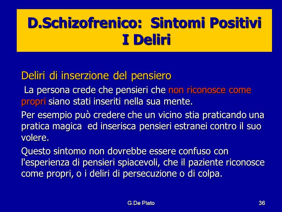 D.Schizofrenico: Sintomi Positivi I Deliri