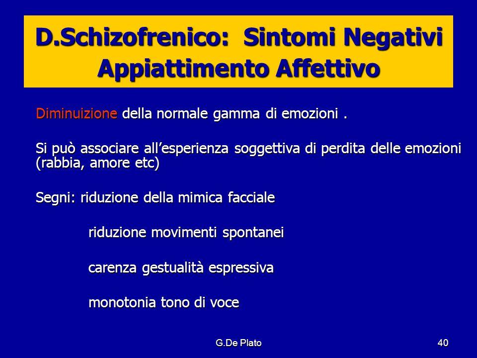 D.Schizofrenico: Sintomi Negativi Appiattimento Affettivo
