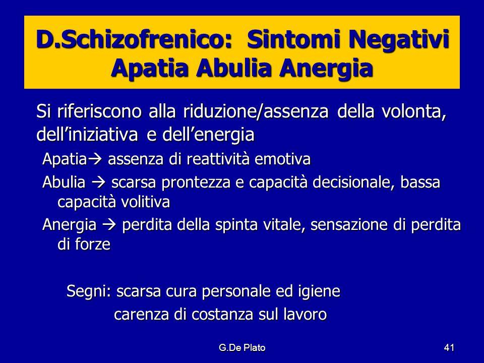 D.Schizofrenico: Sintomi Negativi Apatia Abulia Anergia