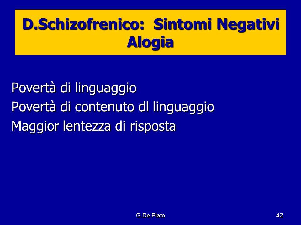 D.Schizofrenico: Sintomi Negativi Alogia
