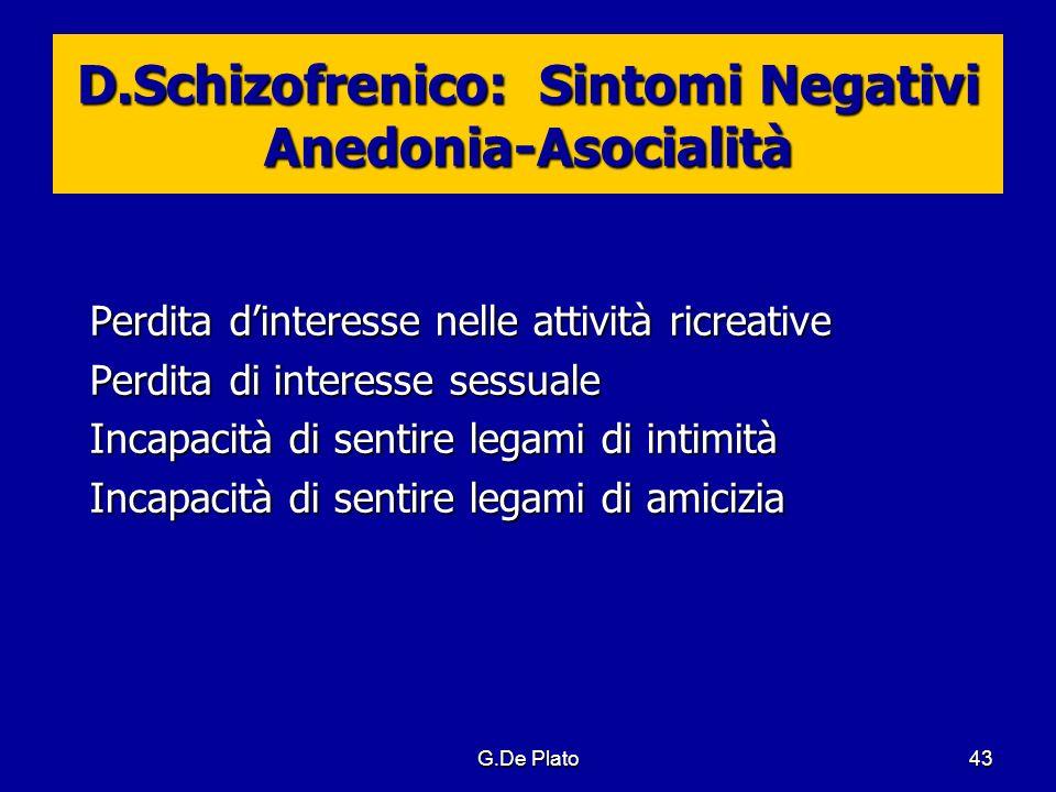 D.Schizofrenico: Sintomi Negativi Anedonia-Asocialità
