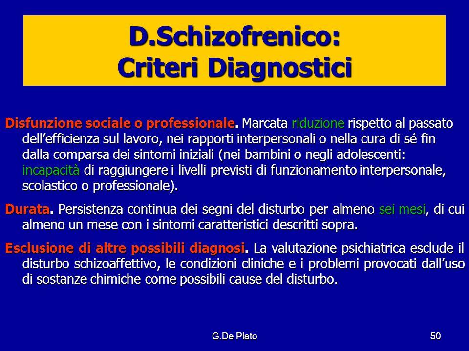D.Schizofrenico: Criteri Diagnostici