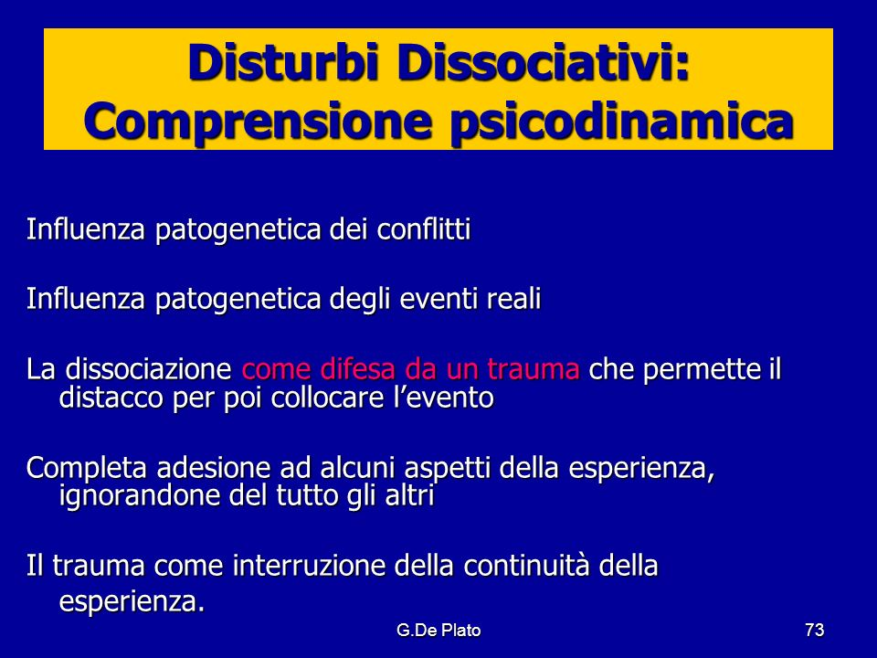 Disturbi Dissociativi: Comprensione psicodinamica