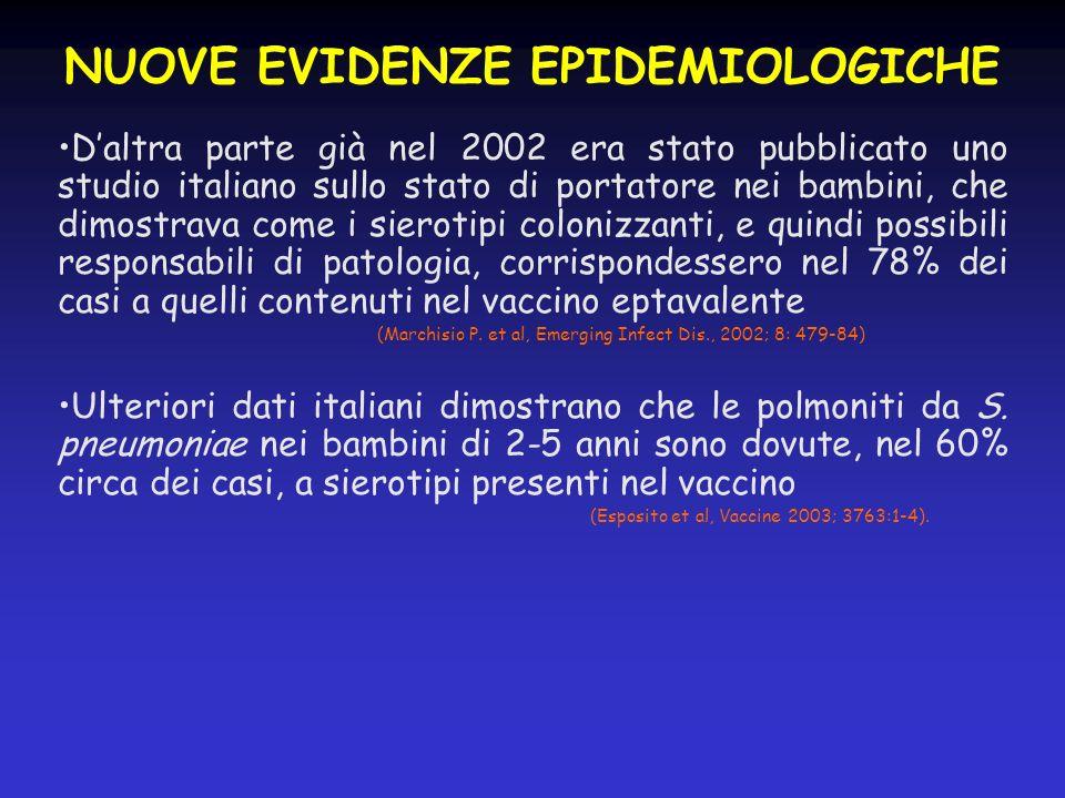 NUOVE EVIDENZE EPIDEMIOLOGICHE