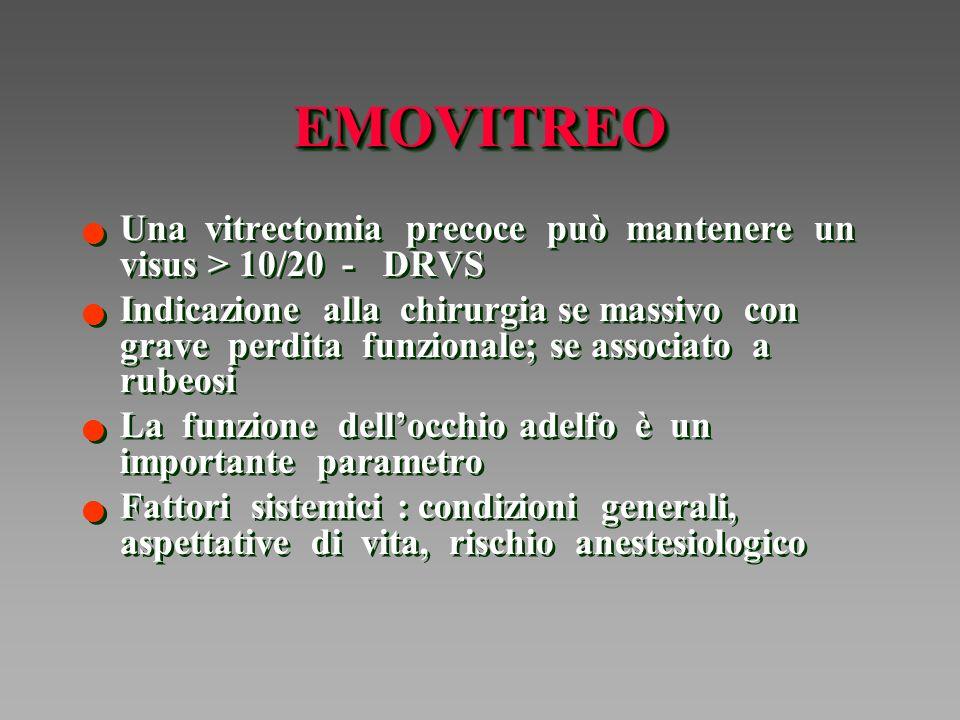 EMOVITREO Una vitrectomia precoce può mantenere un visus > 10/20 - DRVS.
