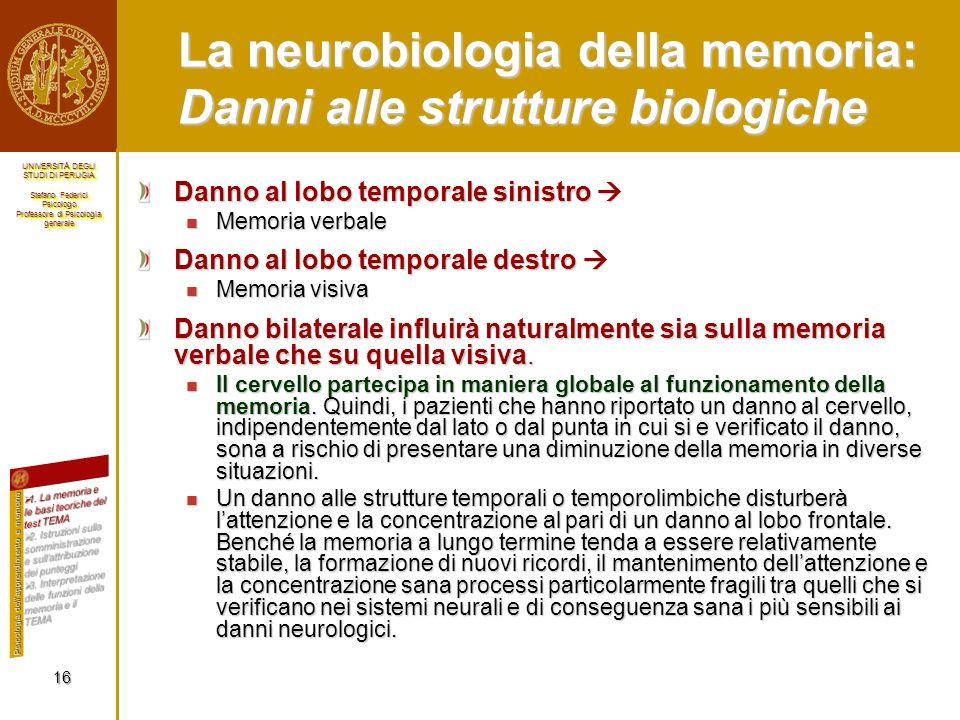La neurobiologia della memoria: Danni alle strutture biologiche