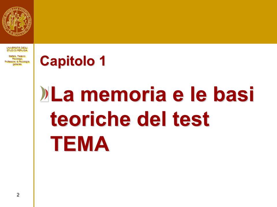 La memoria e le basi teoriche del test TEMA