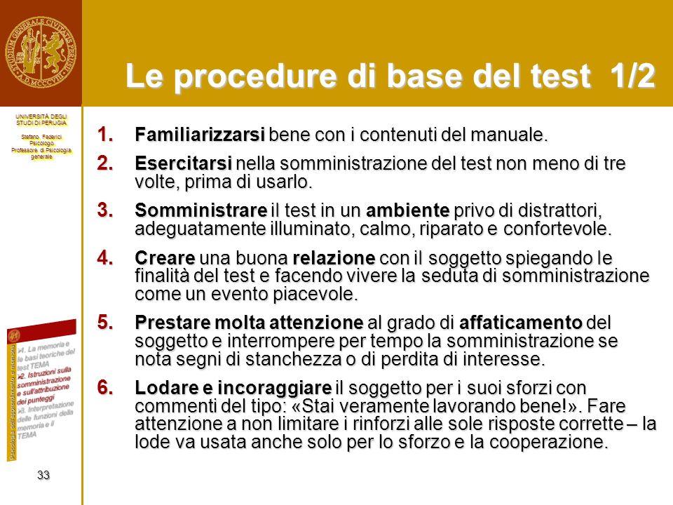 Le procedure di base del test 1/2