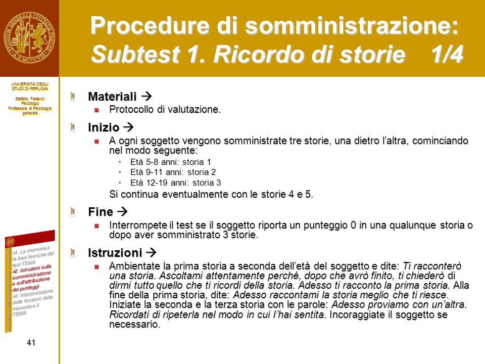 Procedure di somministrazione: Subtest 1. Ricordo di storie 1/4