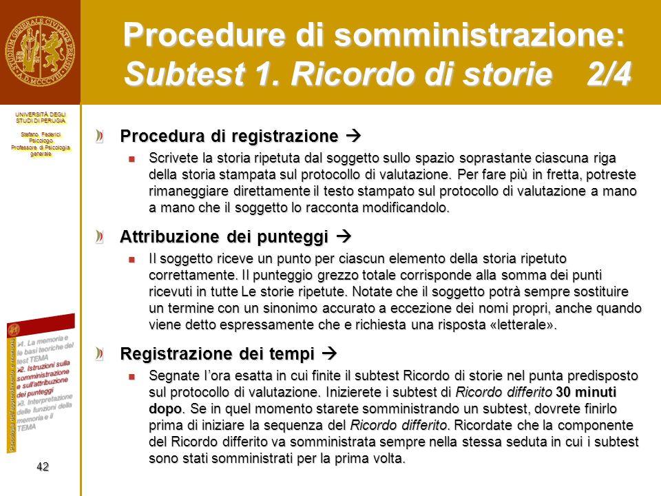 Procedure di somministrazione: Subtest 1. Ricordo di storie 2/4