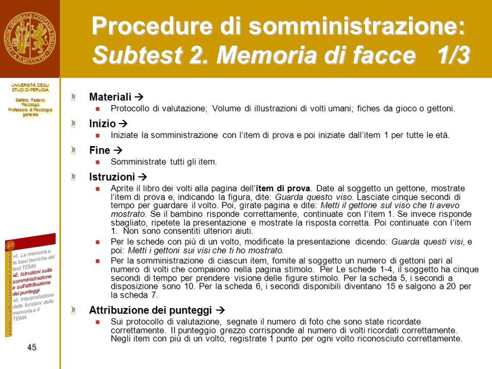Procedure di somministrazione: Subtest 2. Memoria di facce 1/3