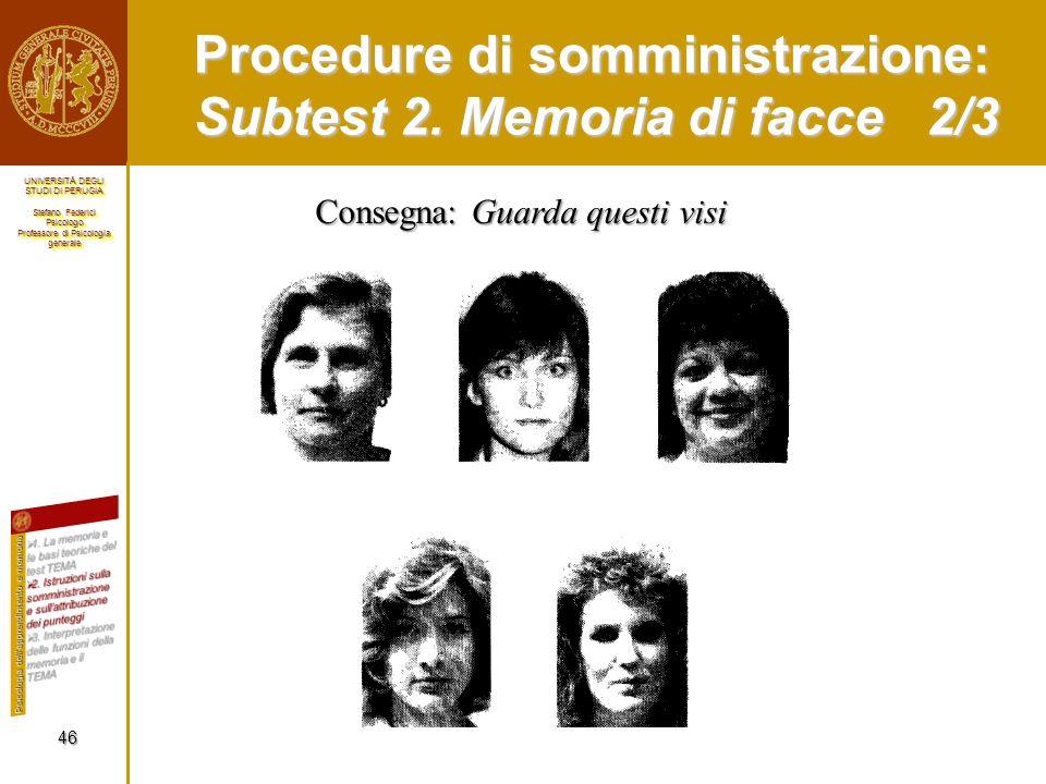 Procedure di somministrazione: Subtest 2. Memoria di facce 2/3