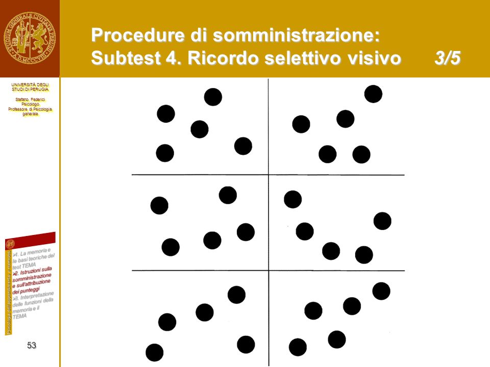 Procedure di somministrazione: Subtest 4. Ricordo selettivo visivo 3/5