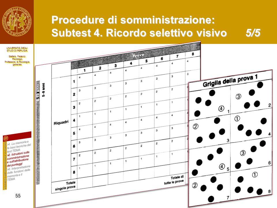 Procedure di somministrazione: Subtest 4. Ricordo selettivo visivo 5/5
