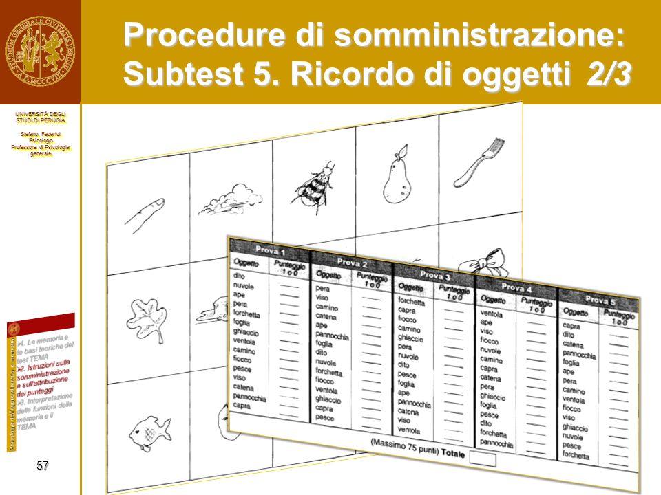 Procedure di somministrazione: Subtest 5. Ricordo di oggetti 2/3