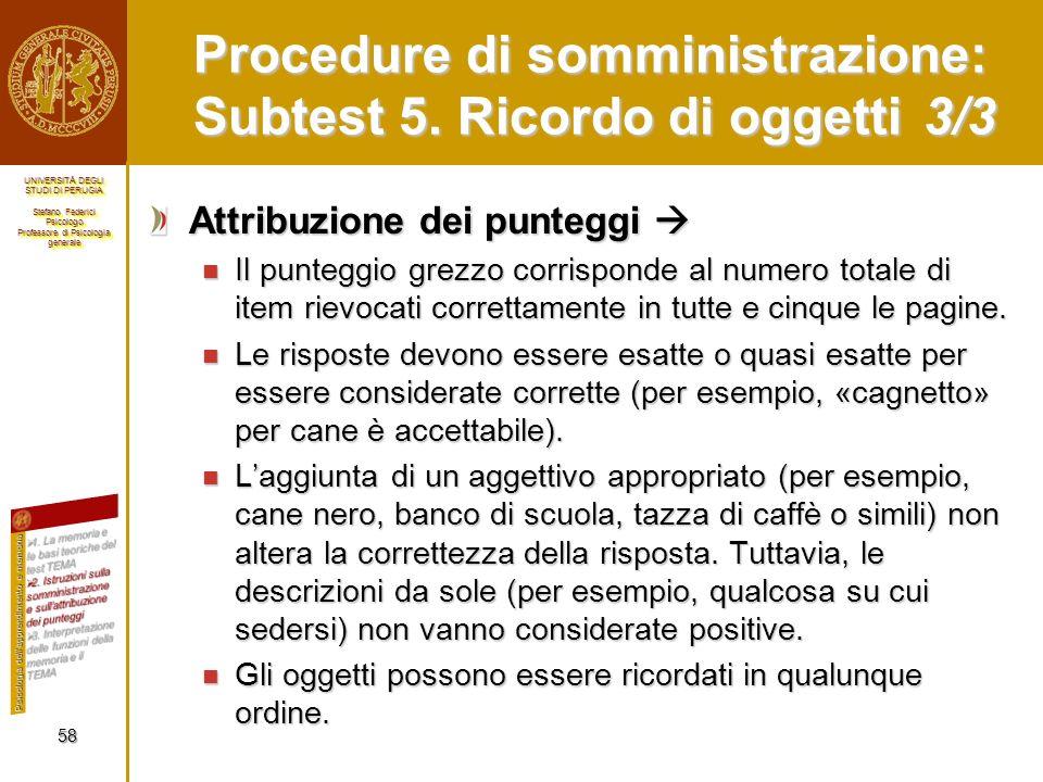 Procedure di somministrazione: Subtest 5. Ricordo di oggetti 3/3
