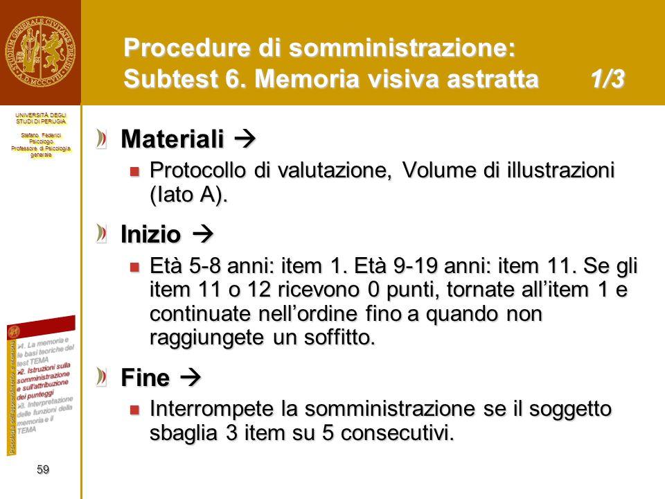 Procedure di somministrazione: Subtest 6. Memoria visiva astratta 1/3