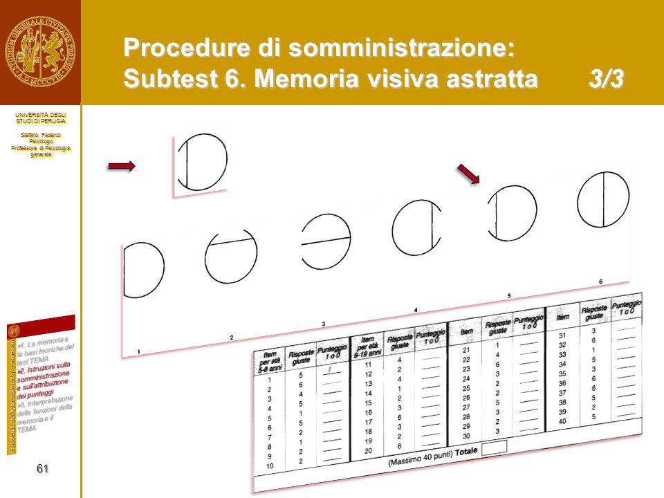 Procedure di somministrazione: Subtest 6. Memoria visiva astratta 3/3