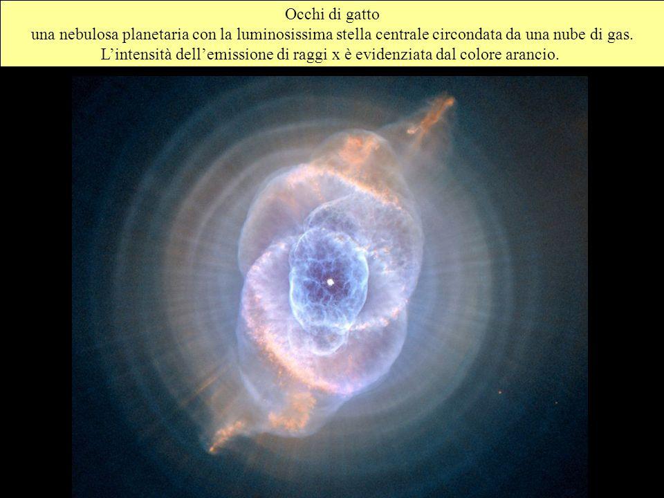 Occhi di gatto una nebulosa planetaria con la luminosissima stella centrale circondata da una nube di gas.