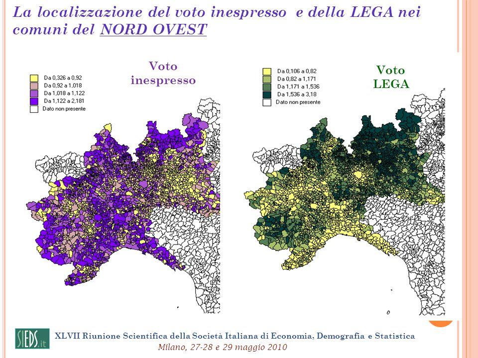 La localizzazione del voto inespresso e della LEGA nei comuni del NORD OVEST