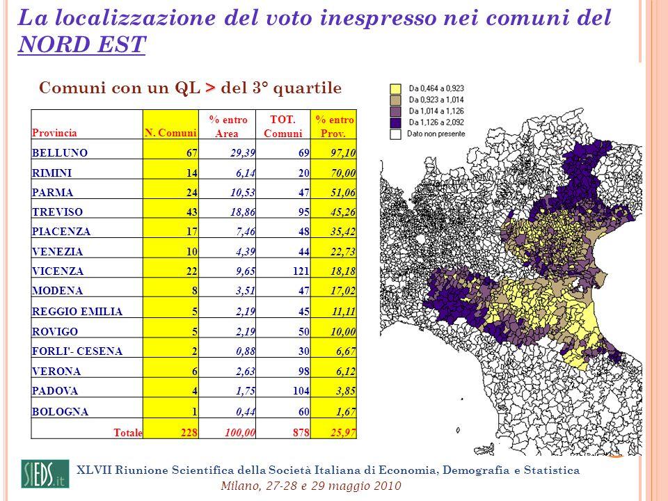 La localizzazione del voto inespresso nei comuni del NORD EST
