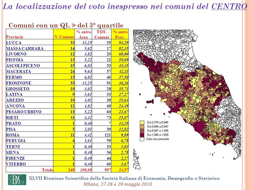 La localizzazione del voto inespresso nei comuni del CENTRO