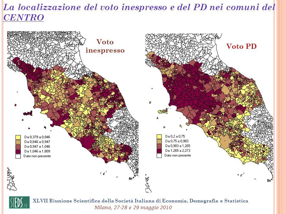 La localizzazione del voto inespresso e del PD nei comuni del CENTRO