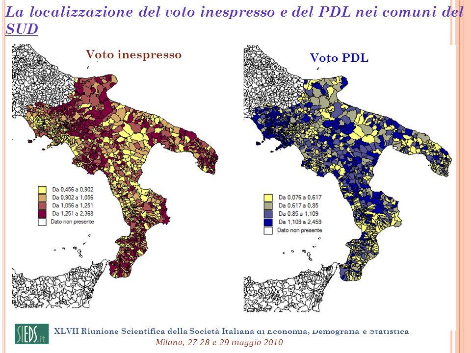 La localizzazione del voto inespresso e del PDL nei comuni del SUD