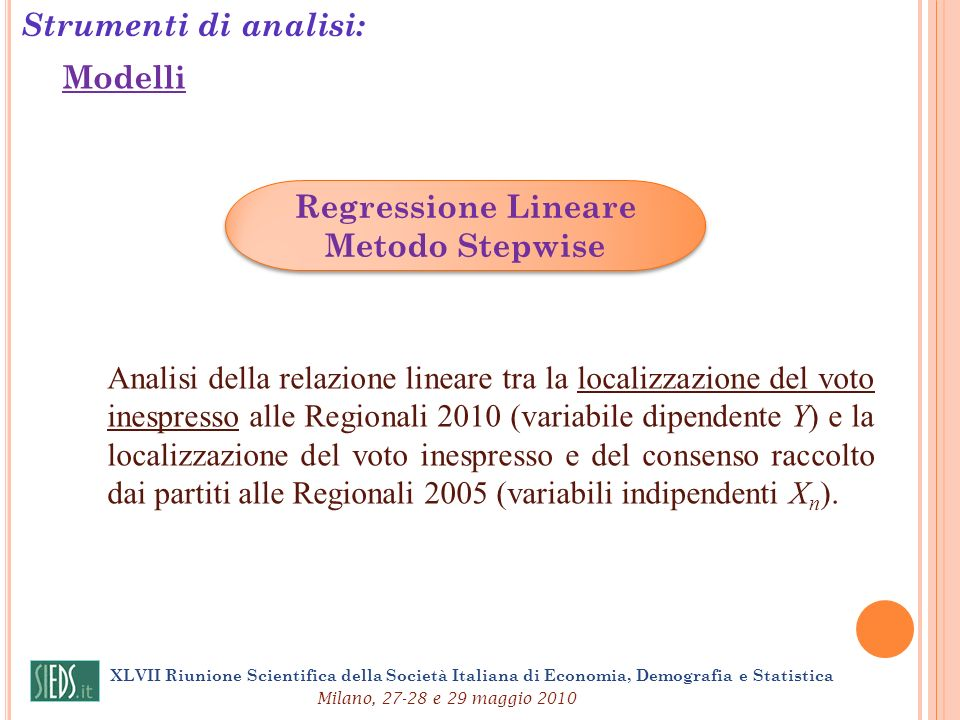 Strumenti di analisi: Regressione Lineare Metodo Stepwise